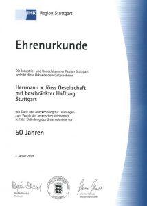Ehren-Urkunde für Herrmann Jörss GmbH